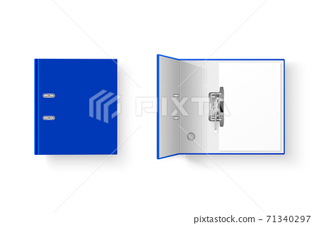 Vector 3d Closed and Opened Realistic Blue Blank and Empty Office Binder Set with Metal Rings and A4 Paper Sheet Closeup Isolated on White Background. Design Template, Mockup, Top View 71340297