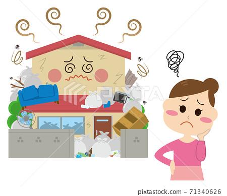 一個女人陷入一個垃圾房的麻煩 71340626