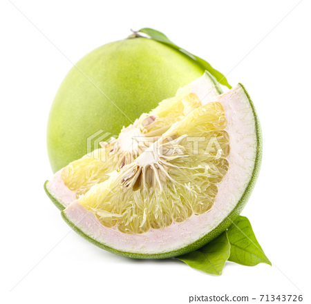 Green pomelo fruit an isolated on white background 71343726