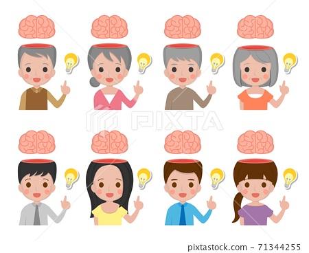 聰明的一家人,爺爺奶奶爸爸媽媽男人女人,頭腦跟燈泡,卡通漫畫插圖向量 71344255