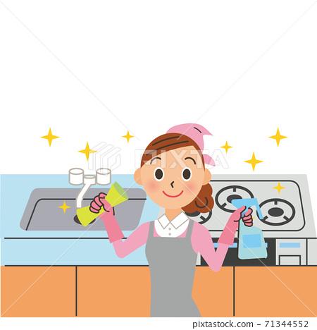 女人打掃廚房 71344552