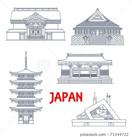 Japan landmarks, temples and pagodas shrines 71344722