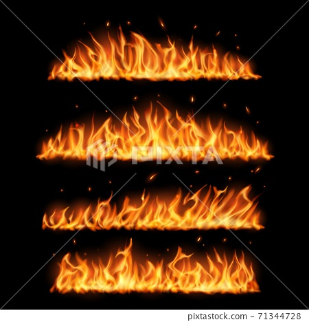 Realistic fire flames on black background 71344728