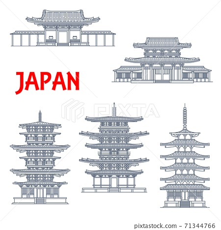 Japan landmarks icons, temples, Japanese pagodas 71344766