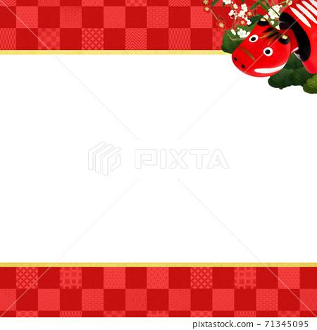 빨강 모든 것을 송죽매를 장식 한 붉은 바둑판 무늬 배경 - 여러 종류가 있습니다 71345095