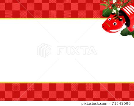 빨강 모든 것을 송죽매를 장식 한 붉은 바둑판 무늬 배경 - 여러 종류가 있습니다 71345096