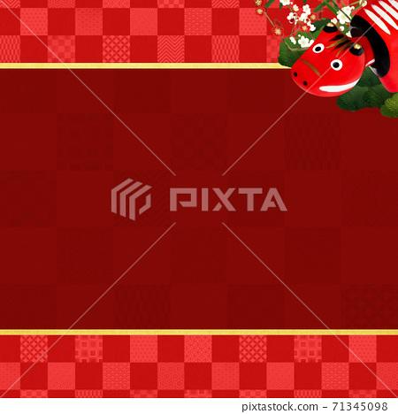 빨강 모든 것을 송죽매를 장식 한 붉은 바둑판 무늬 배경 - 여러 종류가 있습니다 71345098