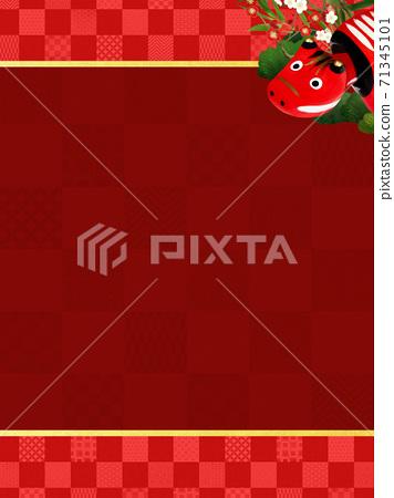 빨강 모든 것을 송죽매를 장식 한 붉은 바둑판 무늬 배경 - 여러 종류가 있습니다 71345101