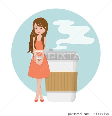 美丽的女人跟咖啡,金融商务办公室,卡通漫画插图向量 71345150