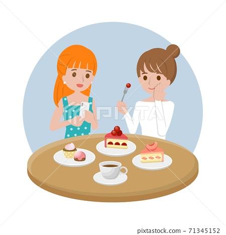 美丽的女人聊天吃下午茶,蛋糕跟咖啡,金融商务办公室,卡通漫画插图向量 71345152