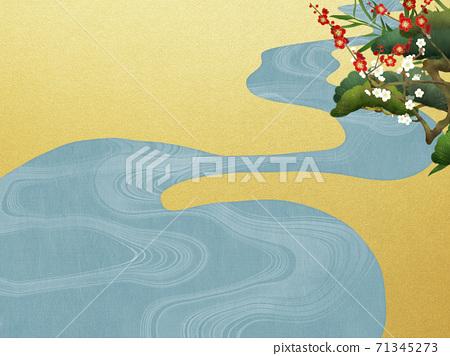 송죽매와 물 일본식 배경 - 여러 종류가 있습니다 71345273