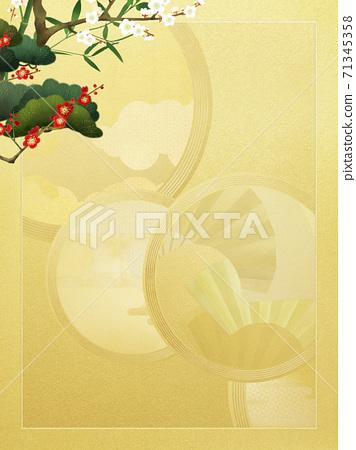 금색의 일본식 디자인과 송죽매의 경사스러운 배경 - 여러 종류가 있습니다 71345358