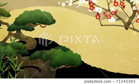송죽매와 파도의 일본식 배경 - 여러 종류가 있습니다 71345365
