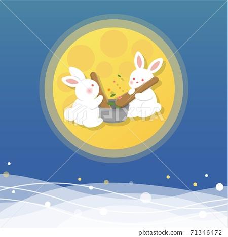 中秋節,月亮跟雲朵,可愛的兔子在月亮上製作草藥,卡通漫畫插圖向量 71346472