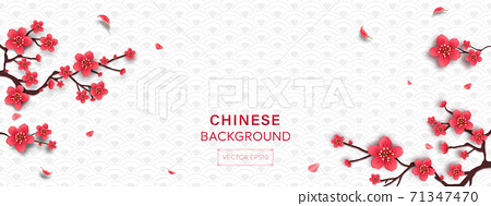 Chinese style white gray wave pattern banner with Cherry blossom flower 71347470
