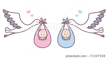아기를 들고 황새 남녀 세트 71347589