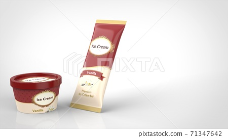 ice cream cup and bar vanilla left 3d rendering 71347642