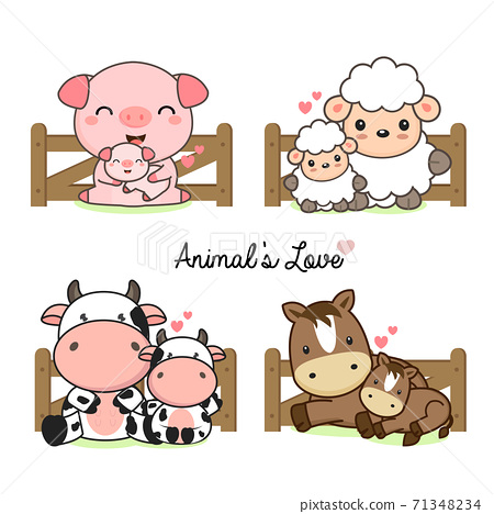 Cute animals for Mother's Day. Animals mom and baby 71348234