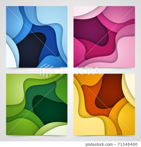 Set of 3D abstract background and paper cut shapes, vector illustration 71348400