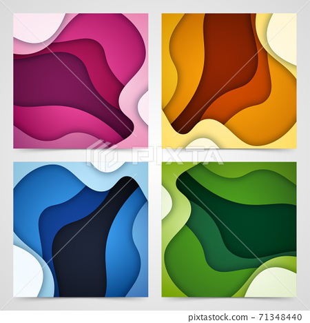 Set of 3D abstract background and paper cut shapes, vector illustration 71348440
