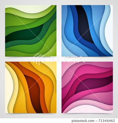 Set of 3D abstract background and paper cut shapes, vector illustration 71348462