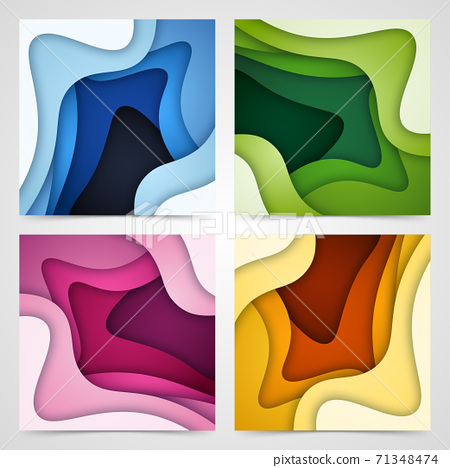 Set of 3D abstract background and paper cut shapes, vector illustration 71348474