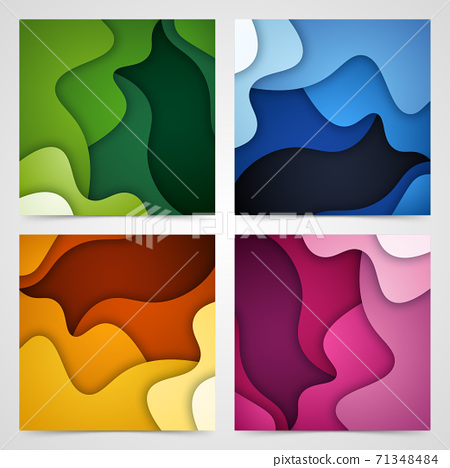 Set of 3D abstract background and paper cut shapes, vector illustration 71348484