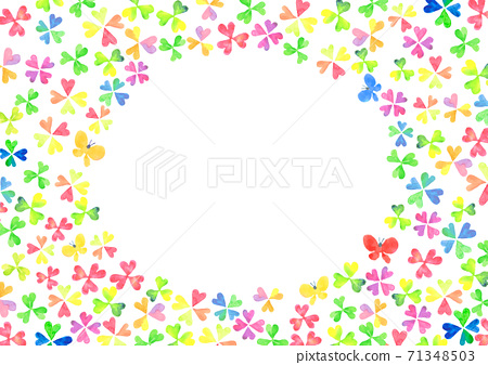 Clover frame painted in watercolor 71348503