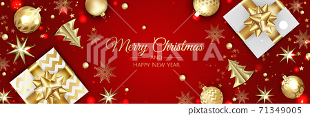 Christmas vector background. Creative design greeting card, banner, poster. Top view xmas decoration balls and snowflakes. 71349005