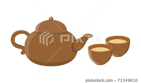 茶壺跟茶杯隔離在白色背景中,卡通漫畫插圖向量 71349610