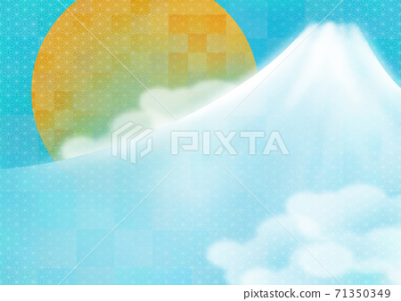 New Year's card background illustration with Japanese-style Mt. Fuji and the first sunrise on a light blue Japanese pattern background 71350349