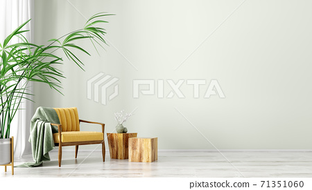 Interior with armchair and wooden coffee tables 3d rendering 71351060