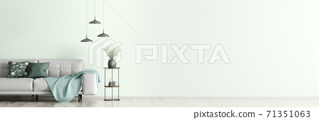Interior with gray sofa and coffee table 3d rendering 71351063