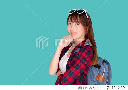 Beautiful portrait young asian woman wear sunglasses on head smile confident thinking. 71354200