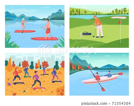 Outdoor sport flat color vector illustration set 71354384