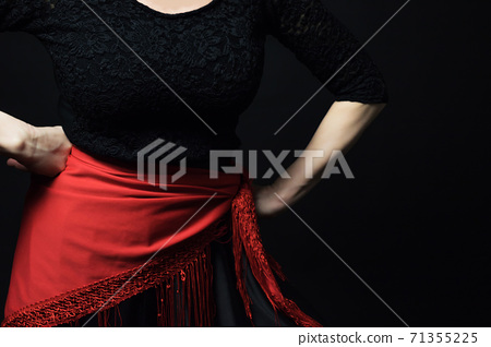 Flamenco Dancer woman  posing with hands on hips 71355225