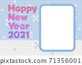 新年賀卡編織雪景水平矩形天空 71356001