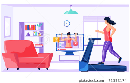 Woman running on electric treadmill at home. Illustration about comfortable exercise with Equipment 71358174