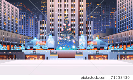 central city square with decorated christmas tree happy new year winter holidays celebration concept 71358430