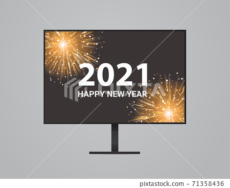 christmas fireworks on computer monitor screen happy new year holidays celebration concept 71358436