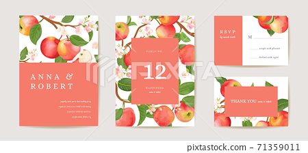 Wedding apple invitation card, vintage autumn Save the Date set. Design template of fruits, flowers and leaves 71359011