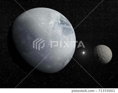 Pluton, Charon and Polaris star - 3D render 71359981