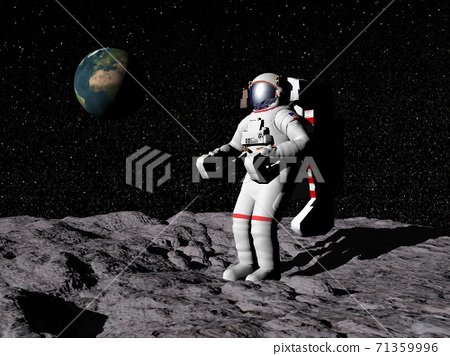 Man on the moon - 3D render 71359996