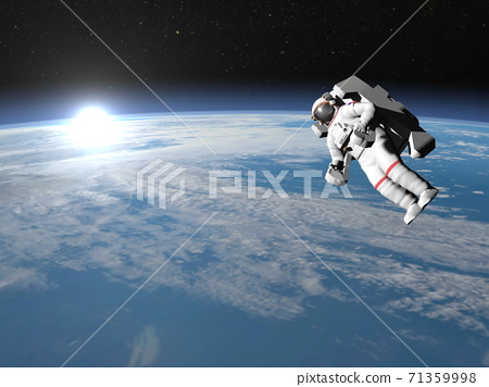 Astronaut or cosmonaut flying upon earth - 3D render 71359998