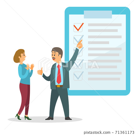 Businessman talking with worker about finished deals pointing at clipboard with checkmarks 71361173