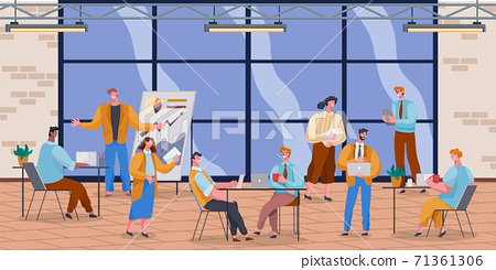 Office workers. Co-workers. Colleagues discuss project teamwork. Office staff work and communication 71361306