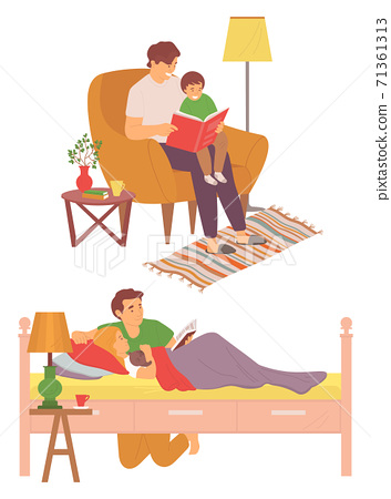 Father with Children Reading Bedtime Story Set 71361313
