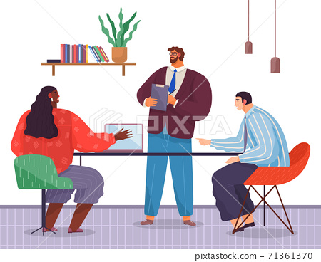 Office workers. Co-workers. Colleagues discuss project teamwork. Office staff work and communication 71361370