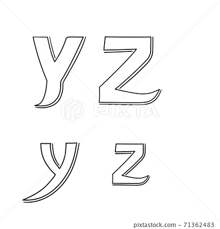Hand writing Y&Z on white background.Vector illustration design. 71362483