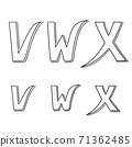 Hand writing V&W&X on white background.Vector illustration design. 71362485